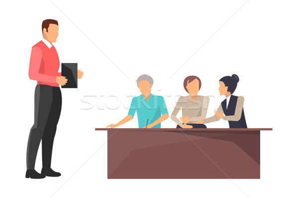 Business Train Boss Workers Vector Illustration Stock photo © robuart