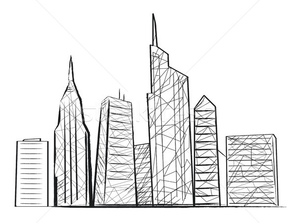 Night City Light Sketch Icon Vector illustration Stock photo © robuart