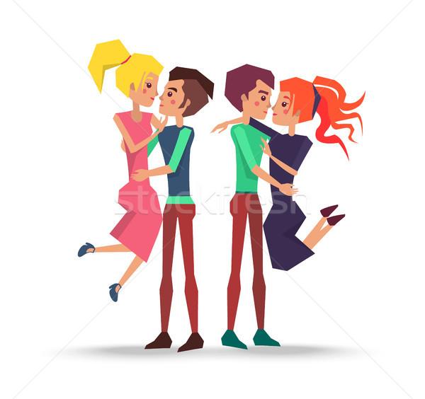 Casais amor namoro bandeira pessoas homens Foto stock © robuart