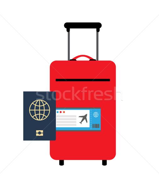 Gepäck Pass Plakat rot Farbe Stock foto © robuart