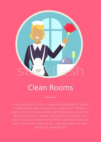 Propre chambres affiche cercle icône hôtel Photo stock © robuart