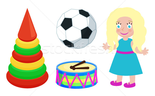 Football Ball and Doll Toys Vector Illustration Stock photo © robuart