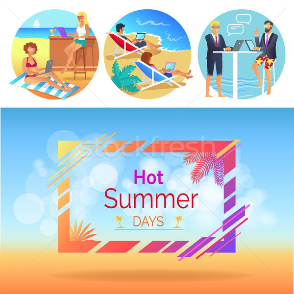 Caliente día de verano trabajadores establecer titular marco Foto stock © robuart
