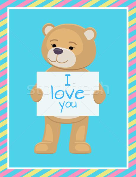 Szeretet szöveg lap papír plüssmackók mancsok Stock fotó © robuart