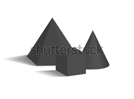 Cone Pentagonal Prism and Cube 3D Geometric Shapes Stock photo © robuart
