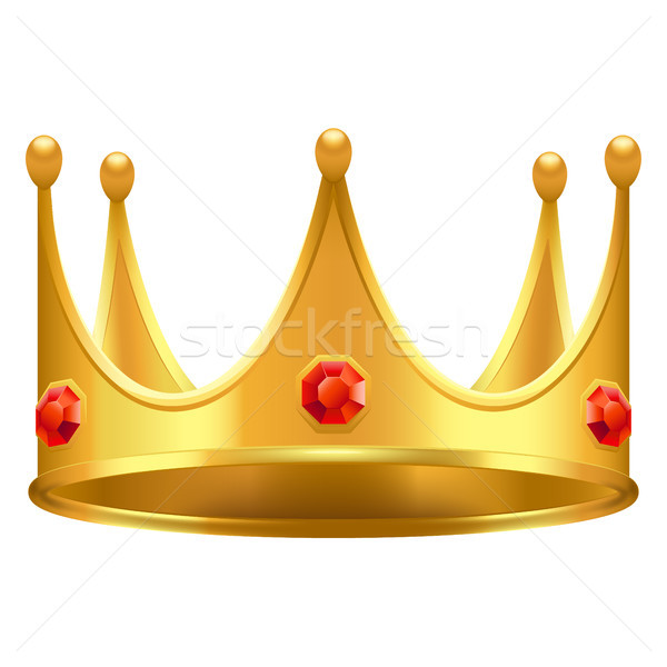 Golden Crown with Gems 3d Icon Realistic Vector Stock photo © robuart