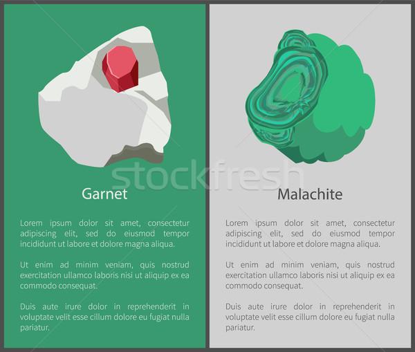 Malachit Mineralien rot grünen Kristalle Plakate Stock foto © robuart