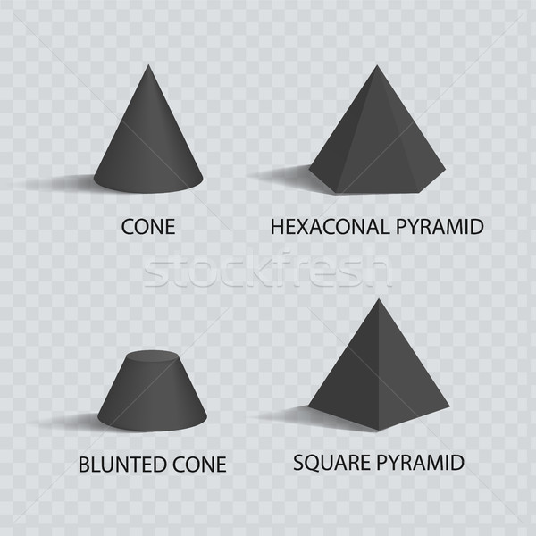Cones and Pyramids Set, Black Prisms, Color Banner Stock photo © robuart