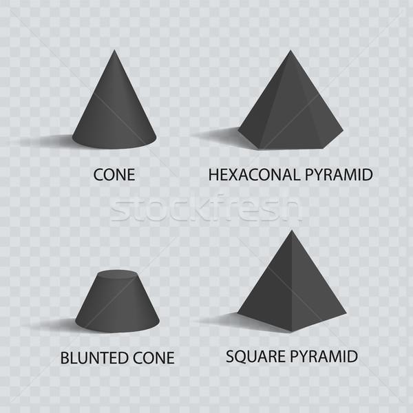 Piramides ingesteld zwarte kleur banner geïsoleerd Stockfoto © robuart