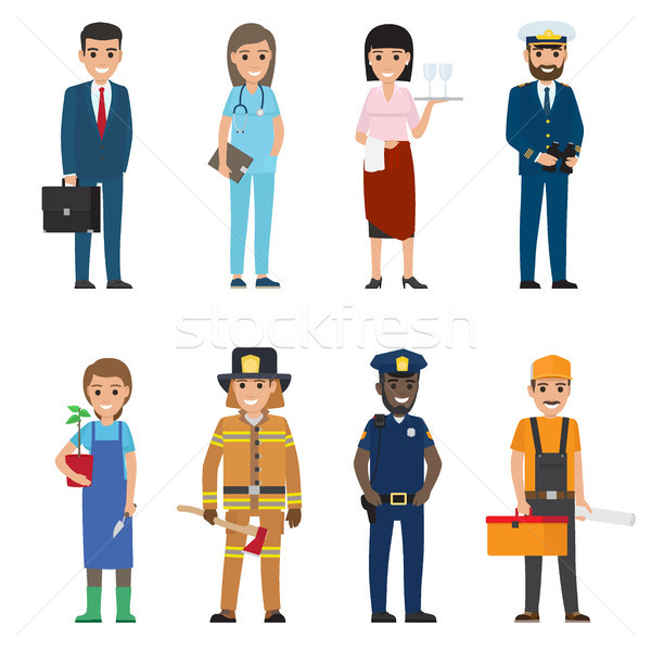 Professions People Cartoon Characters Icons Set Stock photo © robuart