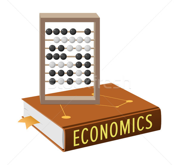 Economics Book and Abacus with Grey Wooden Frame Stock photo © robuart