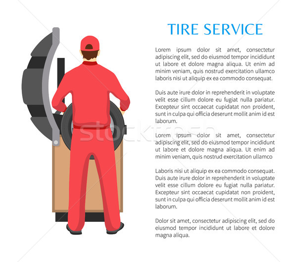 Tire Service and Man Fitting Car Wheel on Bench Stock photo © robuart