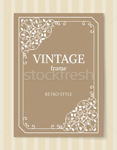 Vintage Frame Retro Style Engraving Baroque Border Stock photo © robuart