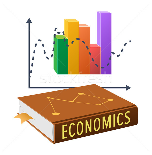 Textbook on Economics and Bright Statistical Chart Stock photo © robuart