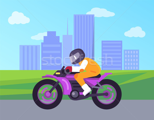 Biker Driving on Cute Motorbike Cityscape Vector Stock photo © robuart