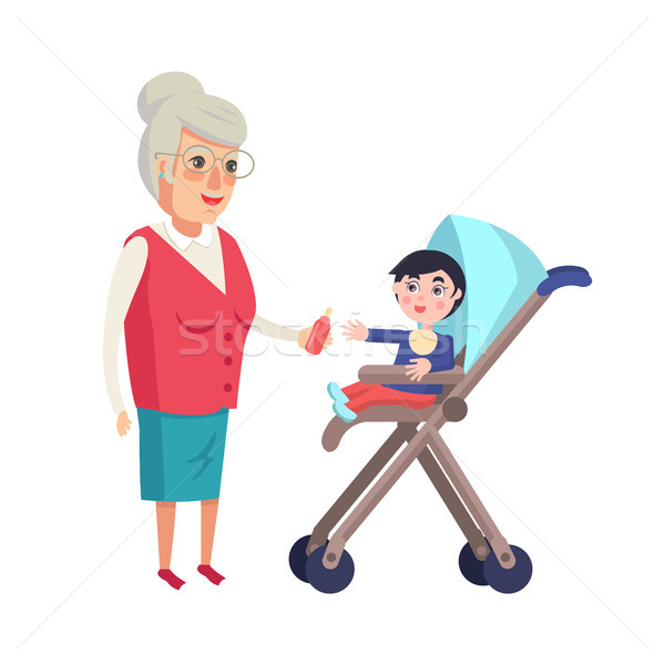 Grandmother Giving Bottle with Pacifier to Toddler Stock photo © robuart