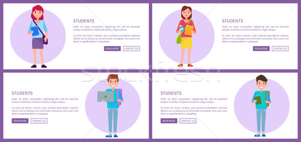 Students Set Web Posters Buttons Pupils Boys Girls Stock photo © robuart