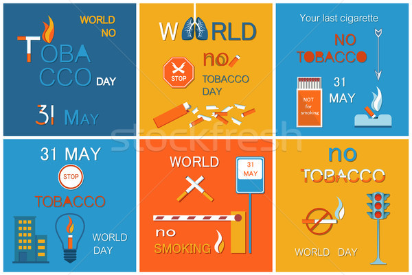 World No Tobacco Day Set of Posters Stop Smoking Stock photo © robuart