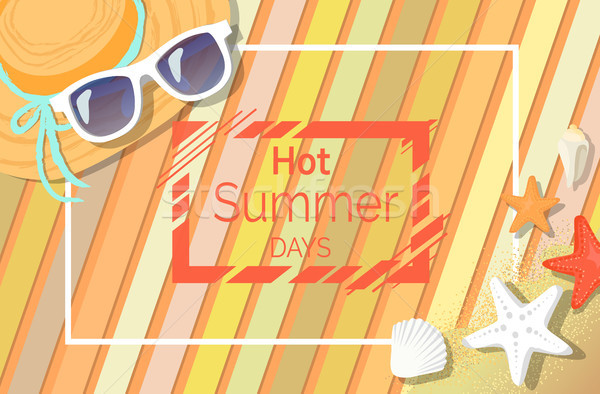 Hot Summer Days Banner with Sunglasses and Hat Stock photo © robuart