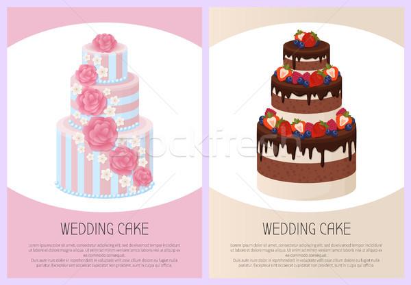 Esküvő torták szett édes pékség plakátok Stock fotó © robuart
