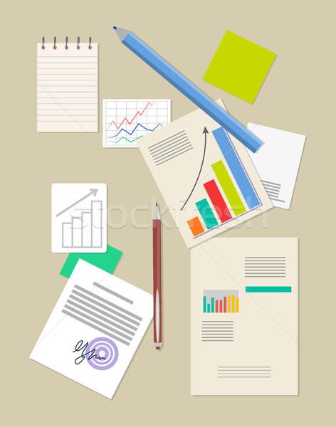 Analitika nagy adat jegyzettömb hatalmas ceruza Stock fotó © robuart
