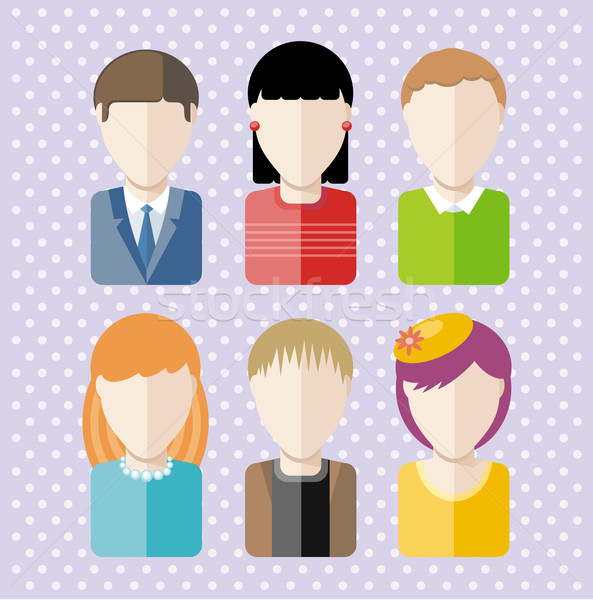 Characters silhouettes people professions Stock photo © robuart