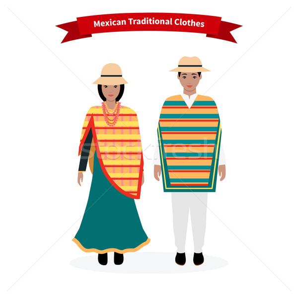 Mexican tradycyjny ubrania ludzi człowiek hat Zdjęcia stock © robuart
