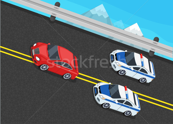 Isometric Police Fines Car design Flat Isolated Stock photo © robuart
