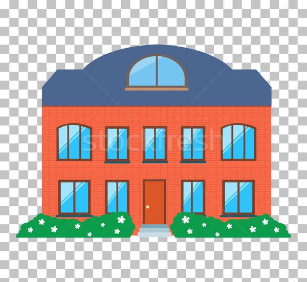 Maison maison icône immobilier rouge isolé Photo stock © robuart