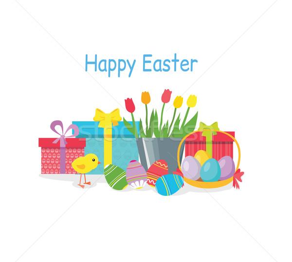 Kellemes húsvétot ünnep üdvözlőlap design ajándék húsvéti tojás tavasz Stock fotó © robuart