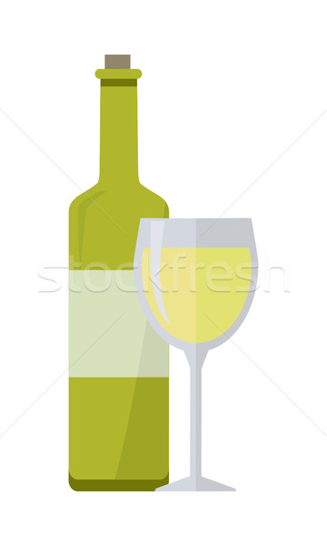 Bottle of White Wine and Glass Isolated Stock photo © robuart