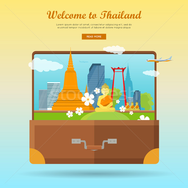 Welcome to Thailand Flat Style Vector Web Banner  Stock photo © robuart