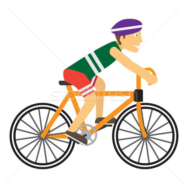 Băiat Cască Calarie Bicicletă Fericit Ilustratie