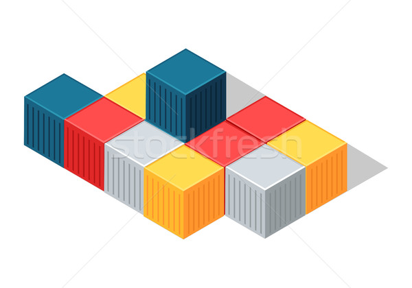 Sea Containers in Isometric Projection Vector Stock photo © robuart