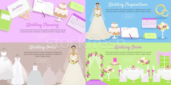 Wedding pianificazione preparazione abito banner Foto d'archivio © robuart