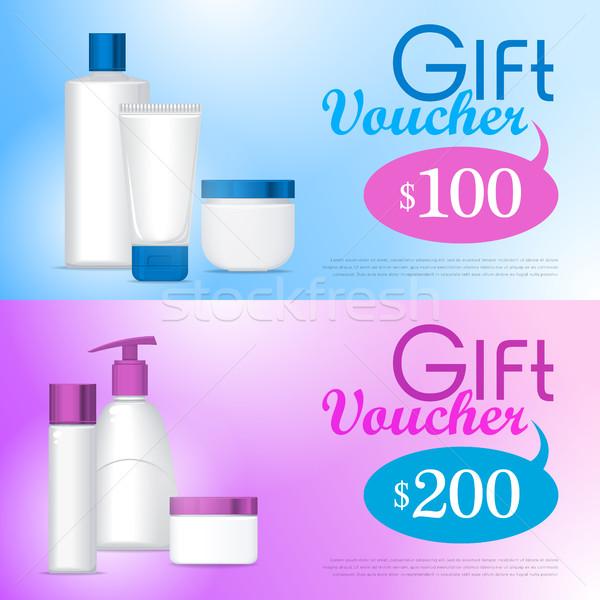 Plantilla regalo vale cosméticos loción jabón Foto stock © robuart