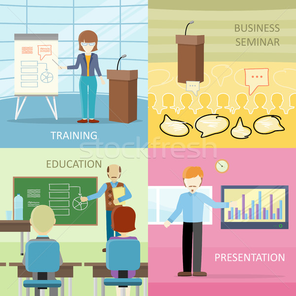 Set of Business Education Concepts in Flat Design. Stock photo © robuart