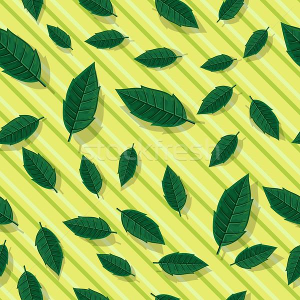 Foglie verdi foglie vettore stile illustrazione Foto d'archivio © robuart
