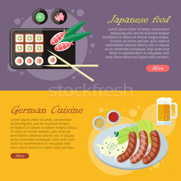 National Cuisine Flat Vector Web Banners Set Stock photo © robuart