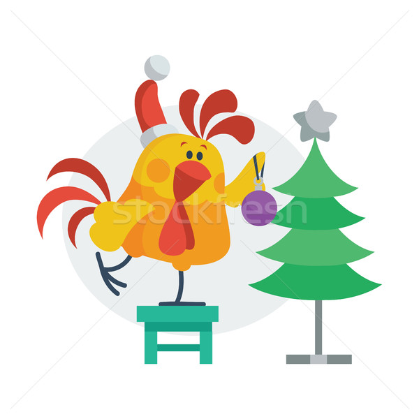 Rooster Bird Decorates Christmas Tree. Cock in Hat Stock photo © robuart