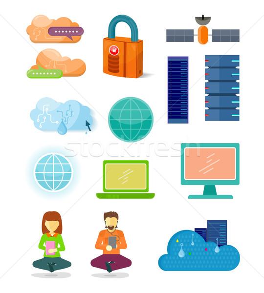 Ingesteld netwerk iconen ontwerp internet pictogrammen Stockfoto © robuart
