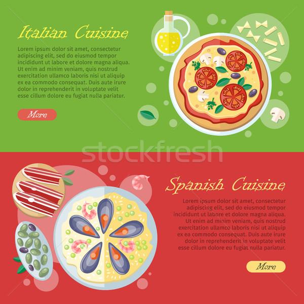 Spanish Cuisine Web Banner. Paella. Jamon. Tapas Stock photo © robuart