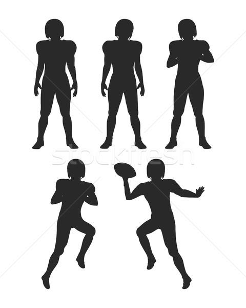 Coleção silhuetas futebol jogadores conjunto americano Foto stock © robuart