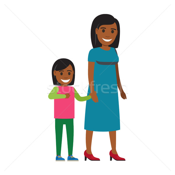 Happy Mother Walking with Daughter Flat Vector Stock photo © robuart