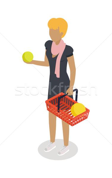 Zdjęcia stock: Kobieta · koszyka · zakupu · codziennie · produktów · wektora