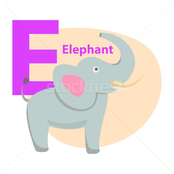 Children s Alphabet Icon Cartoon Elephant Letter E Stock photo © robuart