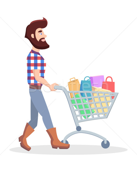 Hipster with Shopping Trolley Full of Goods Vector Stock photo © robuart