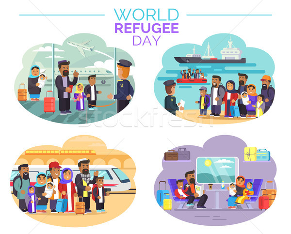 World Refugee Day Poster with People Who Move Away Stock photo © robuart
