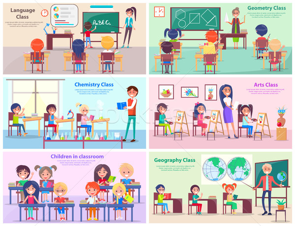 Children in Classrooms Study Subjects with Teacher Stock photo © robuart