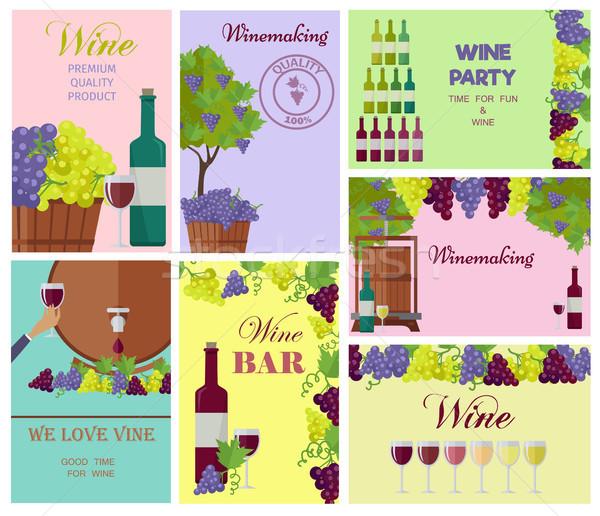 Vinificazione modello colorato collage vino bere Foto d'archivio © robuart